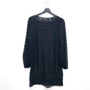 Long Sleeve Little Black Lace Dress